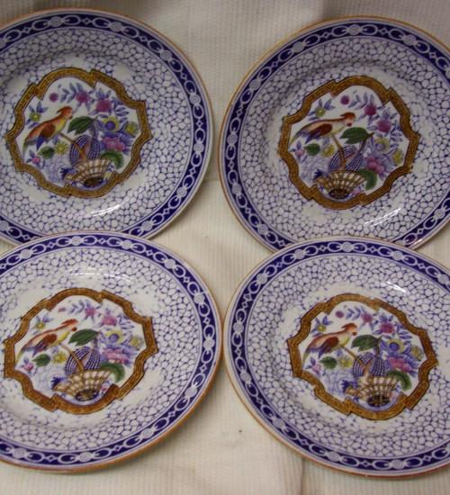 4 antieke borden van Adams Chinese bird blue with colour