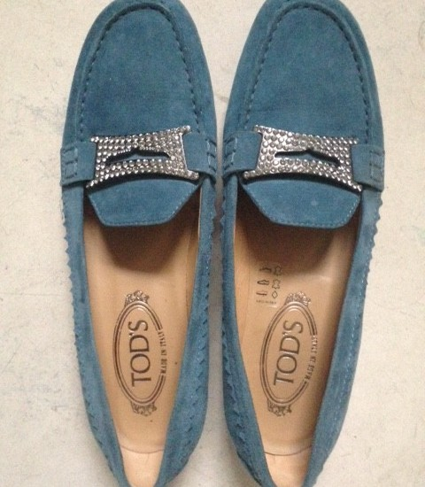 Tod's loafers vintage in lavendel blauw suede