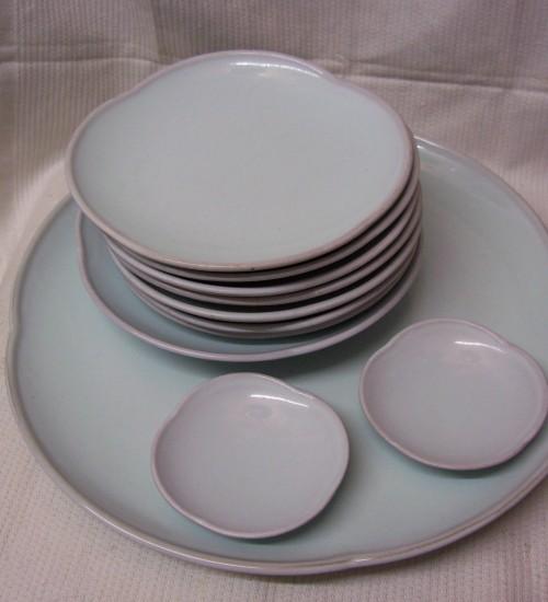 Mosa celadon 10 delig taart en koekstel uit 1948