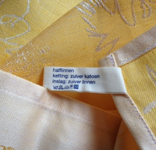 """""""Voor de heren na het scheren"""" nieuwe doek van Karijn Otjes in geel"""