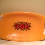 Oranje plastic Emsa broodschaal uit de seventies