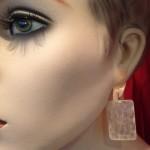 Beeldschone antieke, parelmoer Chinese fiches aan gouden oorhangers