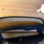 Donkerblauwe vintage  lederen crossbody tas