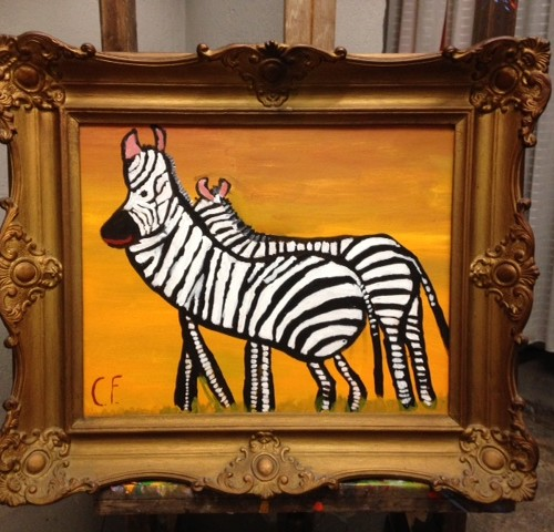 Goudkleurige brocante schilderijlijst