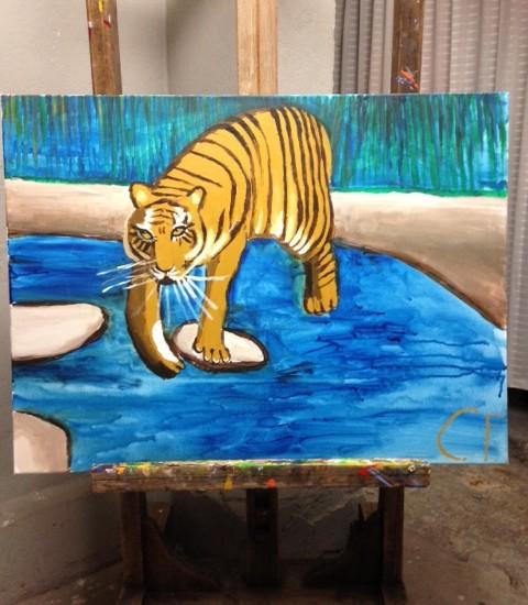 """Geweldig schilderij """"gevaarlijk in blauw"""""""