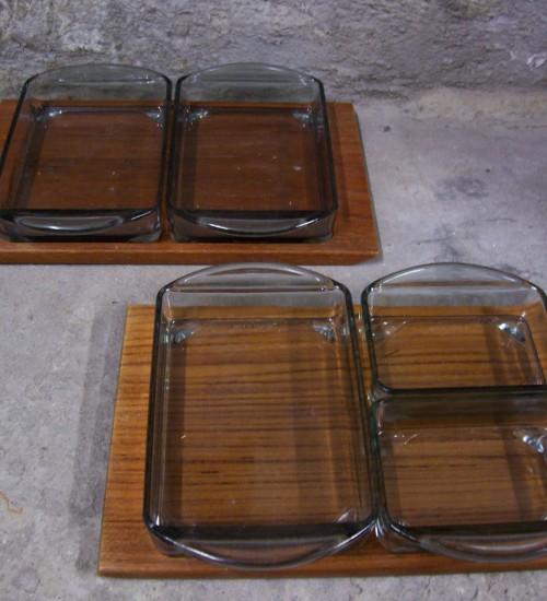Deens design teak snack tray met 3 glazen bakjes retro 1960