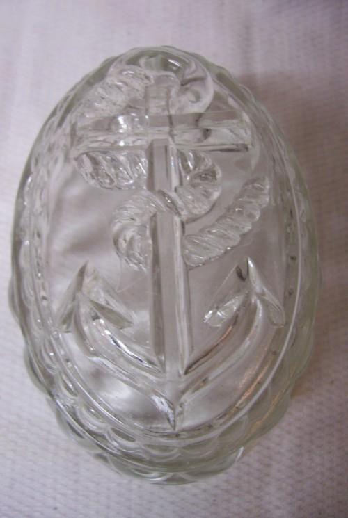 Glazen puddingvorm een anker van glasfabriek Leerdam
