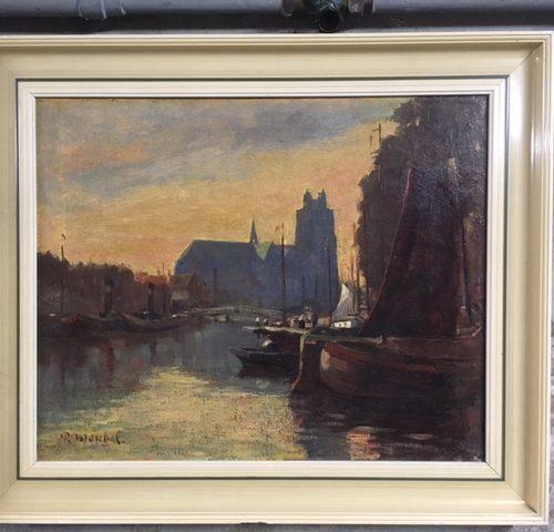 """Impressionistisch schilderij """"haven en gezicht op Dordrecht"""""""