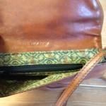 Vintage bruin lederen crossbody tas