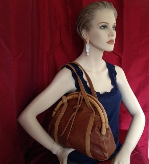 Gave retro vintage handtas met bamboe beugel uit de seventies
