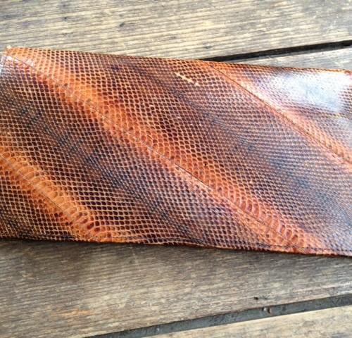 Vintage fijn slangenleren enveloptas