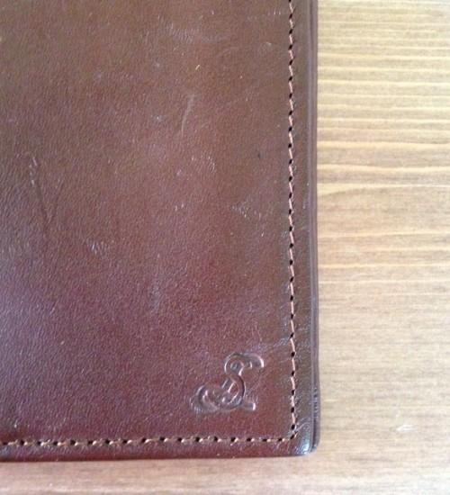 Lederen bruine heren portefeuille monogram LS of SL
