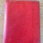 Seventies vintage rode lederen dames portefeuille met Boekelo sticker
