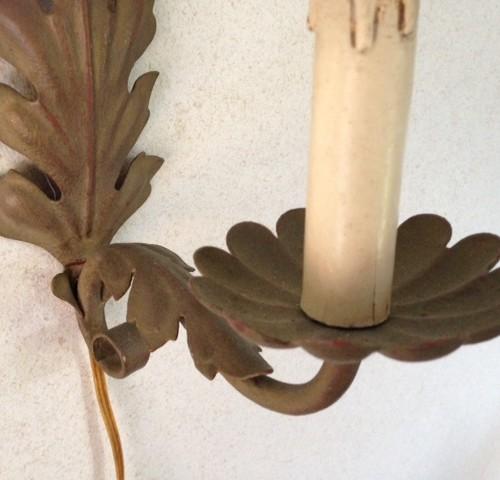 Brocante wandlampje van bronskleurig metaal