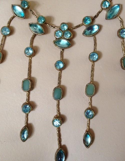 """Geweldig vintage blauw/groen """"Judy Garland"""" collier van paste"""