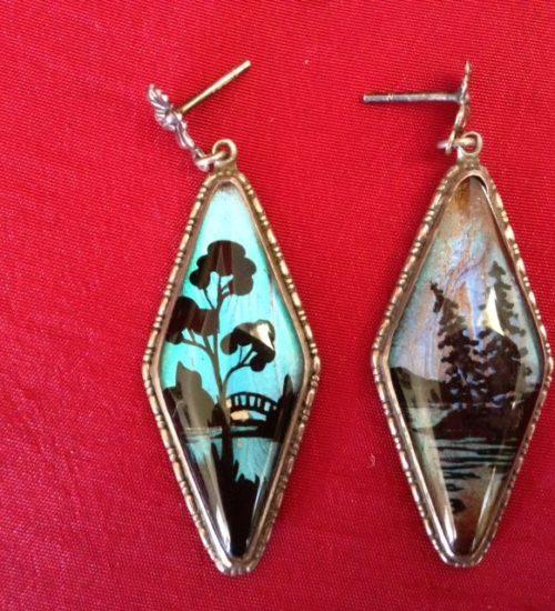 Art deco oorhangers van zilver met vlindervleugels