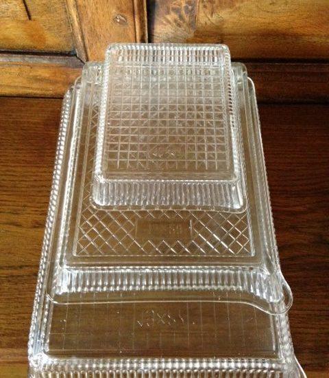 Vintage design rechthoekige set schalen van persglas