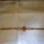 Beeldschone 14 karaat gouden antieke horlogeketting met paardenhoofd