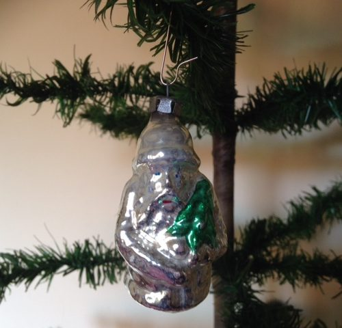 Kerstman in zilver van glas 2e helft 1900
