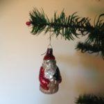 Antieke oude kleine Kerstman uit begin vorige eeuw van dun geblazen glas