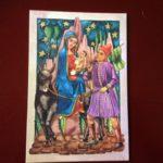 Set van 6 oude antieke Kerst ansichtkaarten uit de jaren 1950 Missiehuis niet gelopen