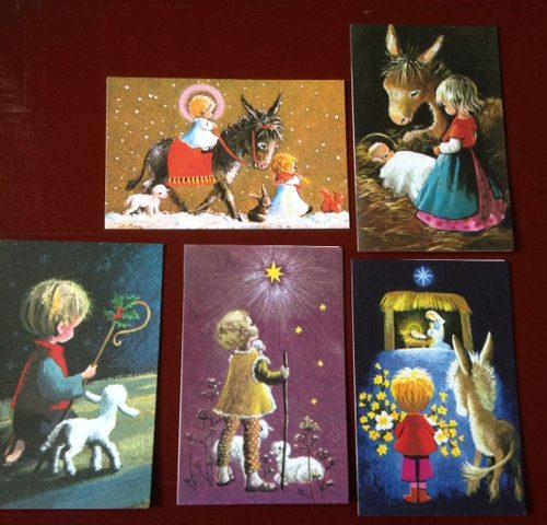 set van 5 oude verschillende, nostalgische, onbeschreven kerstkaartjes
