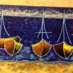 Retro emaille tableau met scheepjes uit de jaren 1960