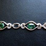 Gouden armband met smaragd groene toermalijn en briljant geslepen diamant met certificaat