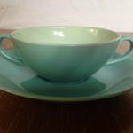 Retro soepkop in turquoise blauw van Goedewaagen Gouda 1945-1955