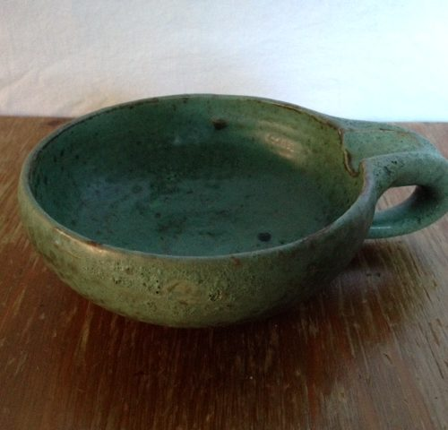 Mobach groen bruisglazuur bakje met handvat