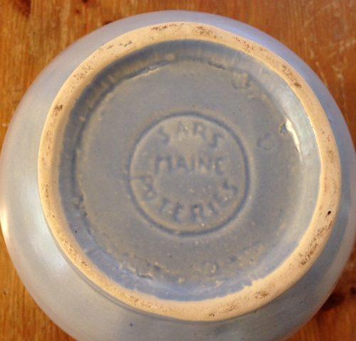 Franse vintage handwerk chocoladekan van Sars Maine uit de eighty's