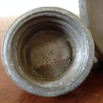 Antieke zware kruik van tin met tinnengieter roosmerk