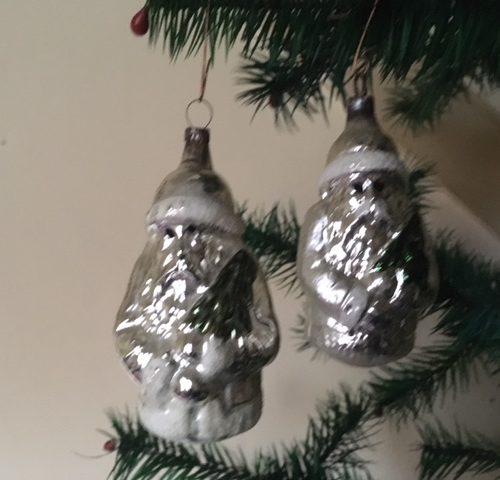 Kerstman in zilver van dun glas 2e helft 1900