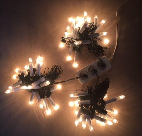 Vintage snoer met 16 heldere Kerst kaarslampjes
