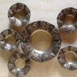 6- delige pindaset van Yogya of Djokja zilver met lotusbloemen