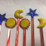 6 felgekleurde Murano cocktail staven met zon, ster en maan
