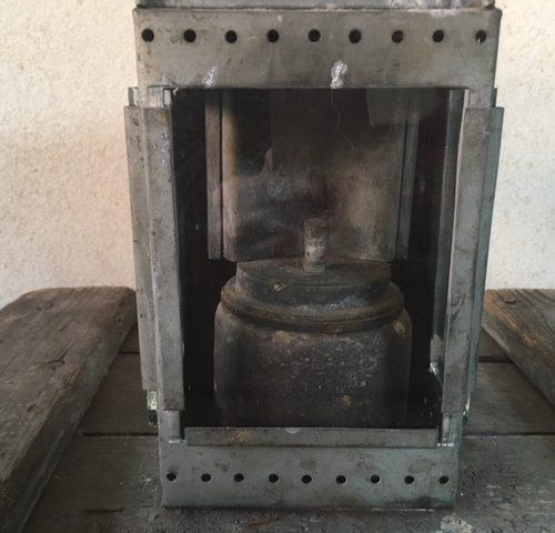 Antieke, brocante seinlamp van zink