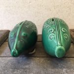 Retro spaarvarken van groen keramiek uit de fifty's