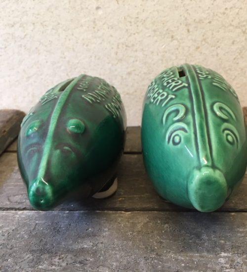 Retro groen keramiek spaarvarken BIMI uit de jaren 1950
