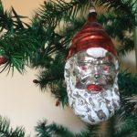 Groot oud imposant hoofd van de Kerstman midden vorige eeuw