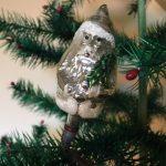 Oude antieke zilveren kerstman in zilver op veer en klem midden 1900
