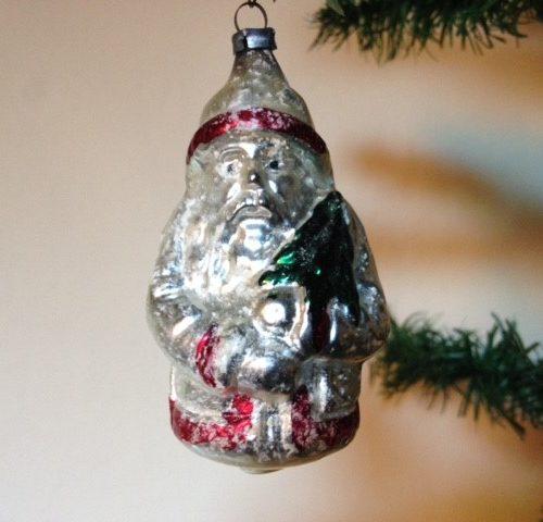 Antieke oude flinke Kerstman in zilveren jas van dun geblazen glas begin 1900