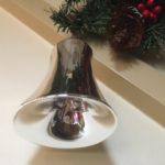 Oude antieke giga grote kerstklok van dun geblazen glas in zilver 1e helft 1900