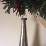 Antieke oude kerstbal een giga lange zilveren pegel van dun geblazen glas 1e helft 1900