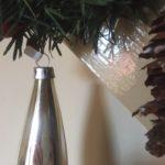 Oude zilveren kerstbal pegel van dun geblazen glas 1e helft vorige eeuw (wi)