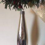 Oude antieke kerstbal een pegel van dun geblazen glas in zilver 15,5 cm.(gr)