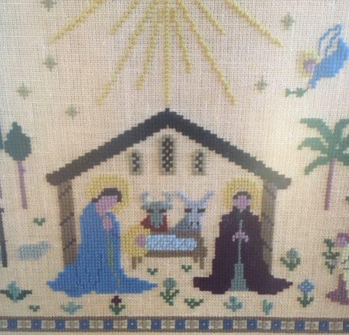 Alternatieve Kerst stal de Geboorte van Jezus van dikke wol op doek ingelijst