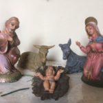 Antieke oude Kerstgroep van early plastics jaren 1950-1960
