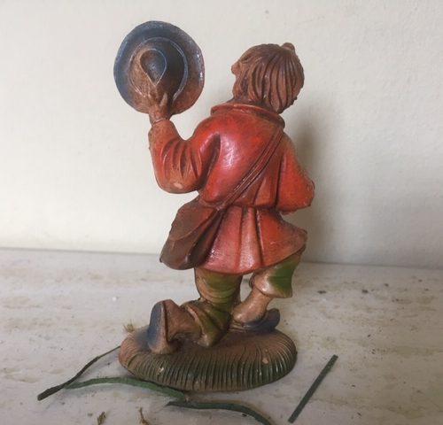 Oude antieke Kerst herder van early plastics uit het midden van de vorige eeuw.