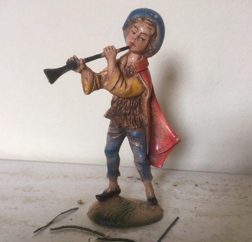 1 van 6 oude antieke Kerst herders van early plastic uit Italy in de jaren 1960